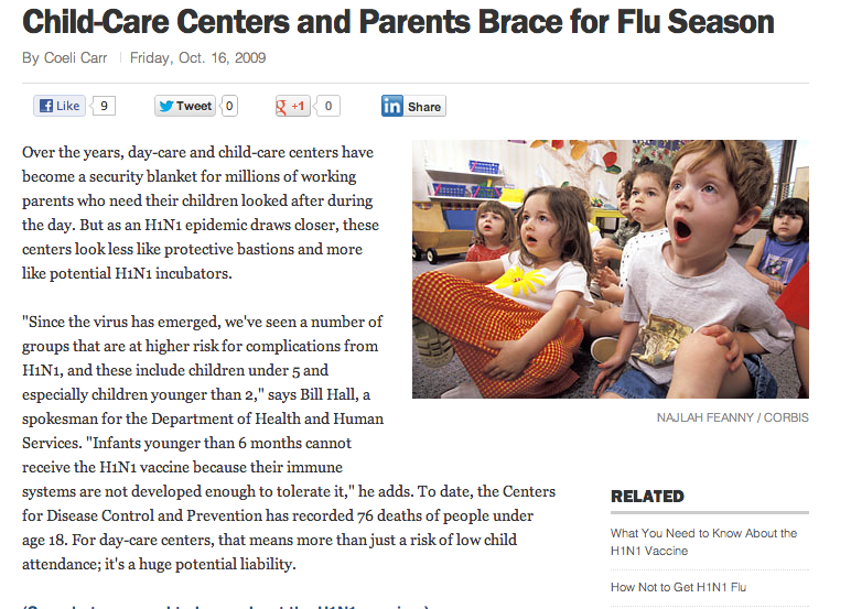 TIME | Child-Care Centers and Parents Brace for Flu Season