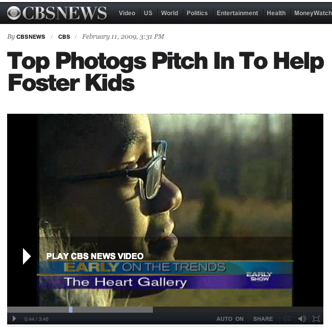 CBS NEWS | Top Photogs Pitch In To Help Foster Kids