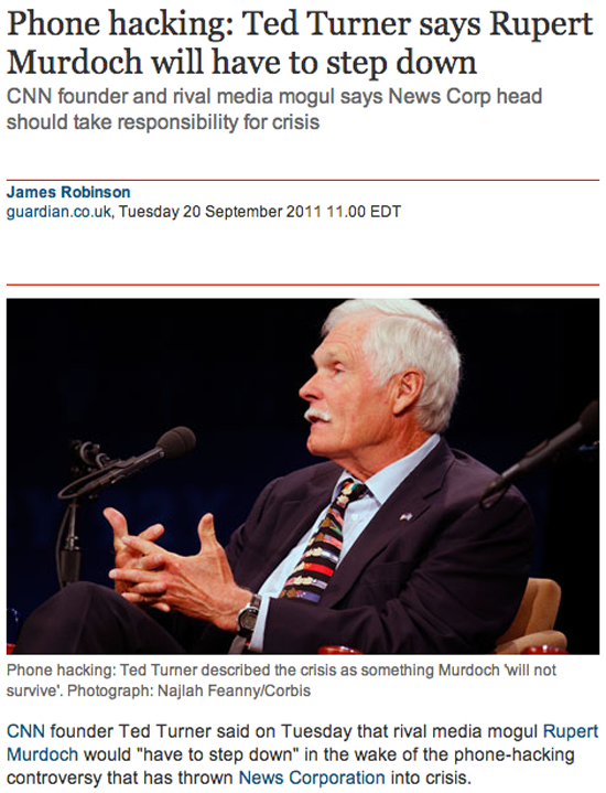 THE GUARDIAN | Phone hacking: Ted Turner